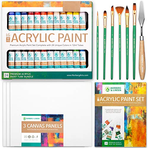 Set de Pintura Acrílica Norberg & Linden LG34 - Pack de 24 Colores de 12ml, 3 Lienzos, 6 Pinceles y Espátula de Madera - Kit de Manualidades para Principiantes - para Adultos y Niños