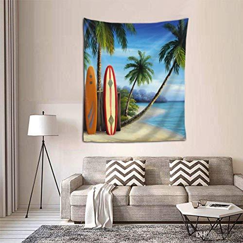 Hdadwy Tapiz de Tablas de Surf y Palmeras Tapiz de Bosque Tapiz de Paisaje Natural Tapiz para Colgar en la Pared para habitación (60 x 50 Pulgadas)