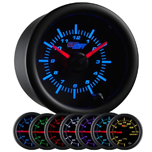 "GlowShift Black 7 Color Analog Clock Gauge - Black Dial - Clear Lens - 2-1/16"" 52mm"