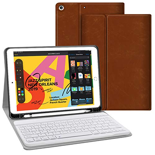 iPad Keyboard Case for iPad 10.2 2019 - JUQITECH Premium PU Leather Smart iPad 7th Generation Case with Keyboard Wireless Detachable Magnetic Tablet Keyboard Cover Case with Apple Pencil Holder, Brown