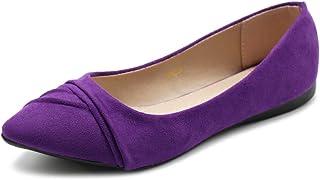 23800882fe0 Ollio Women s Shoe Ballet Dress Faux Suede Pleated Pointed Toe Flat