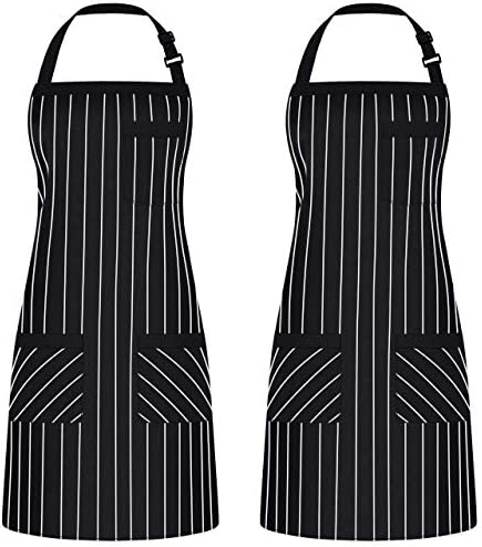 Syntus 2 Pack Adjustable Bib Apron with 3 Pockets Cooking Kitchen Aprons for Women Men Chef product image