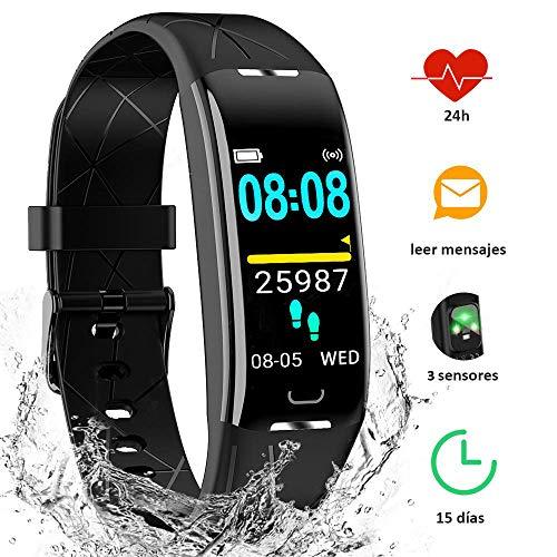 YIYOU Pulsera Actividad Inteligente Impermeable IP68, Monitor Ritmo Cardíaco y Sueño 7...