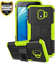 Numy Samsung Galaxy J2 Case,Galaxy J2 Core Case/Galaxy J2 Dash/J2 Pure/J2 Shine/J260, Dual Layer Shockproof,w HD Screen Protector,Protective w Kickstand Hard PC & Soft TPU Case,Tire Appearance-Green