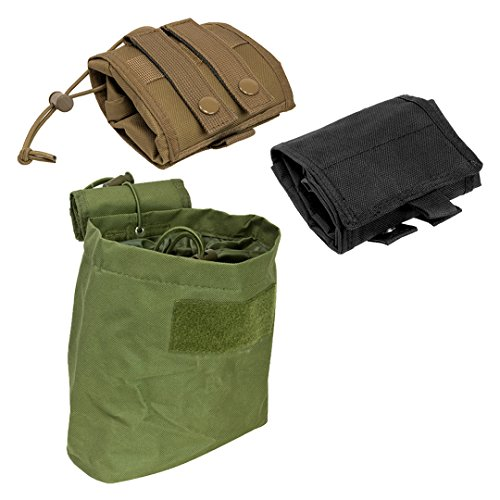 """Tactical Compact Roll-Up Pouch Folding Dump Pouch Magazines Elastic Draw Cord MOLLE PALS Shooting Gear 7.5""""L X 8.5""""H X 3.5""""W (Black)"""