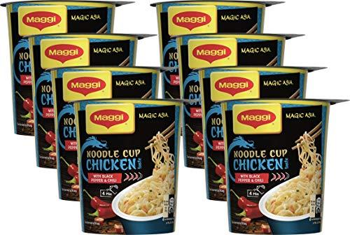 Maggi Magic Asia Chicken Noodle Cup, Instant Nudel-Snack, asiatisches Fertiggericht, mit Gemüse verfeinert, Hühnchen-Geschmack, 8er Pack (8 x 63g)