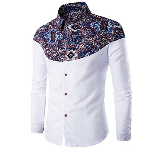 haoricu Mens Shirt, Autumn Winter Elegant Men Fashion Printing Long Sleeved T-Shirt for Work (XL, White)
