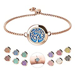 🎄『Beautiful Design』The diffuser bracelet adopt the Circular Carving Design make it look retro and elegant. The tree of hope pattern carved on the dial of the bracelet has profound meaning. Rose color added to it a fashion and High-end color. The exqu...