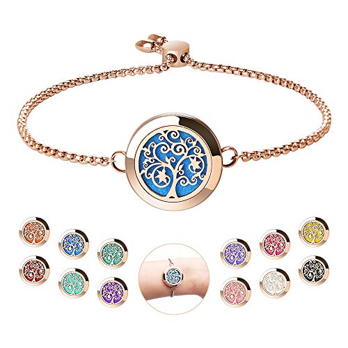 Aromatherapy Essential Oil Diffuser Bracelet - ttstar Rose Gold Stainless Steel Adjustable Women Jewelry Diffuser Bracelet with 24 Refill Pads Gift Set