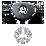 BLINGOOSE Para Mercedes Auto Accesorios Bling Volante Logo Cubierta válida para Benz A B C E G Clase GLS CLA GLC GLK Cristal Strass 3 unidades