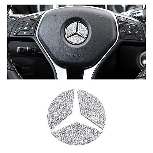 BLINGOOSE für Mercedes Auto Zubehör Bling Lenkrad Logo Abdeckung gelten für Benz A B C E G Klasse GLS CLA GLC GLK Kristall Strass 3 STÜCKE