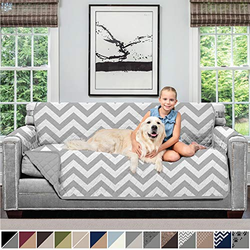 Sofa Shield Original Patent Pending Reversible Large Sofa Protector for Seat Width up to 70 Inch, Furniture Slipcover, 2 Inch Strap, Couch Slip Cover Throw for Pets, Kids, Cats, Sofa, Chevron Gray