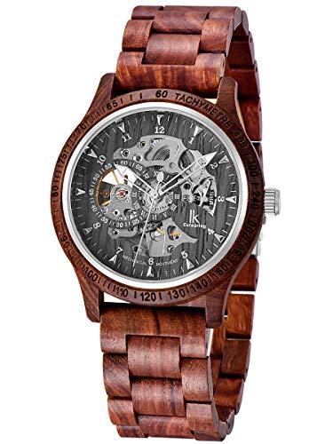 Alienwork Herren mechanische Automatik-Uhr rot mit Holz-Armband schwarz Skelett Holzuhr