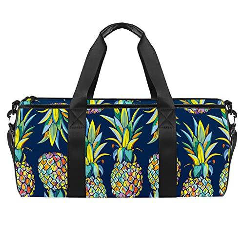 Bolsa de gimnasio con patrón oscuro de piñas para hombres y mujeres, bolsas de fin de semana, bolsa de viaje con bolsillo impermeable
