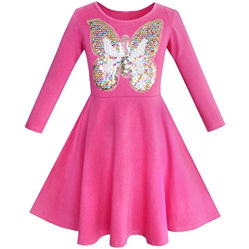 Sunboree Mädchen Kleid Eule Ice Sahne Schmetterling Pailletten Täglich Kleiden Gr. 122