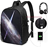 Zaino con interfaccia USB Funny Space Sloth with Pizza 17-inch Laptop Backpack with USB Charging Port Men's and Women's Backpack TSA College School Business Travel Large bags