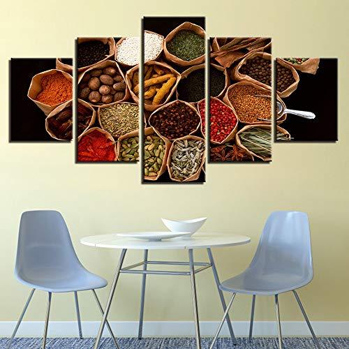 ZSHSCL Foto's op canvas Decoratief Schilderij Kunst gedrukt creatieve keuken ingrediënten kruiden patroon afdrukken kunstwerk muurkunst decoratie poster kunstwerken voor huizen 5 stuks Large