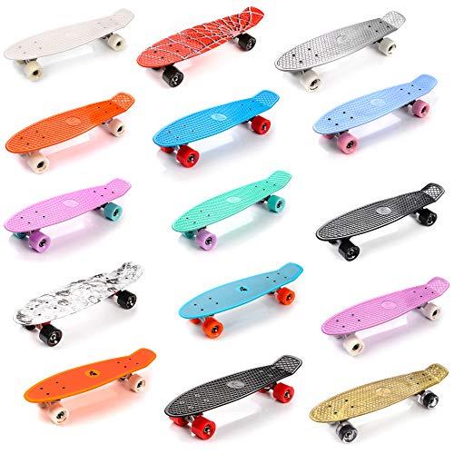 meteor Skateboard Kinder - Mini Cruiser Kickboard - Skateboard mädchen Rollen Board - Kunststoff Skateboards Deck - Retro Skateboard Jungen Mini Board - Skateboard Kinder ab 5 Jahre Vintage miniboard