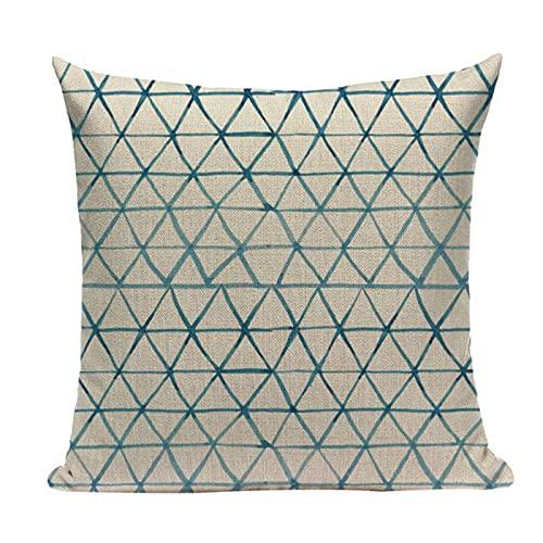 QAZWSXE Cojín geométrico, decoración nórdica, Funda de Almohada para el hogar, Cojines Personalizados de Lino Azul para el hogar, sofá, Asiento, Cojines