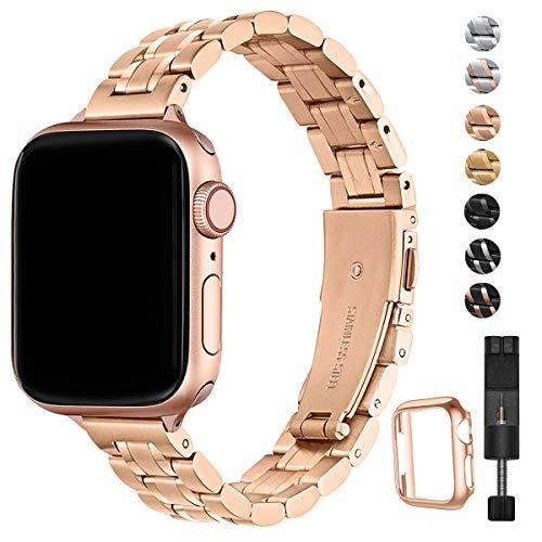 HEKAI Armband Kompatibel mit Apple Watch Armband 38mm 42mm 40mm 44mm Metall,Schlank Verstellbare Edelstahl Ersatzbänder für die iWatch Serie 6&5/4/3/2/1,SE (38mm 40mm, Roségold)