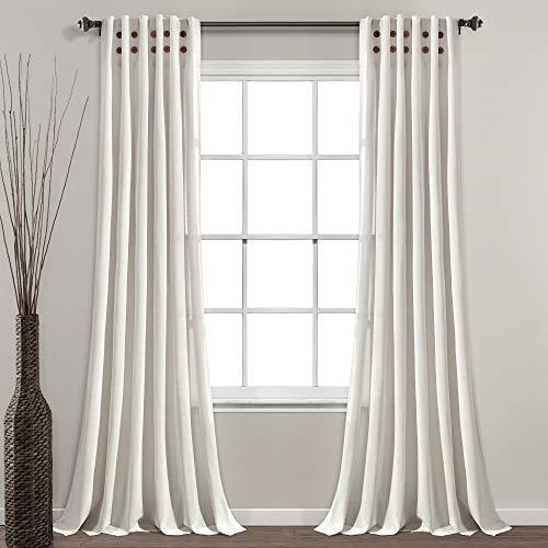 "Lush Decor Linen Button Pinched Pleat Window Curtain Single Panel, 84"" L x 40"" W, Off White"