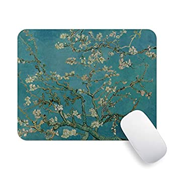 Pricetail Mouse Pad Pretty Impression Art Mouse Mats Almond Blossoms of Van Gogh Mouse Pads Non-Slip Rubber Base MousePad Waterproof Office MousePads for PC Laptop Computers 7.9 x 9.8 x 0.1 Inch