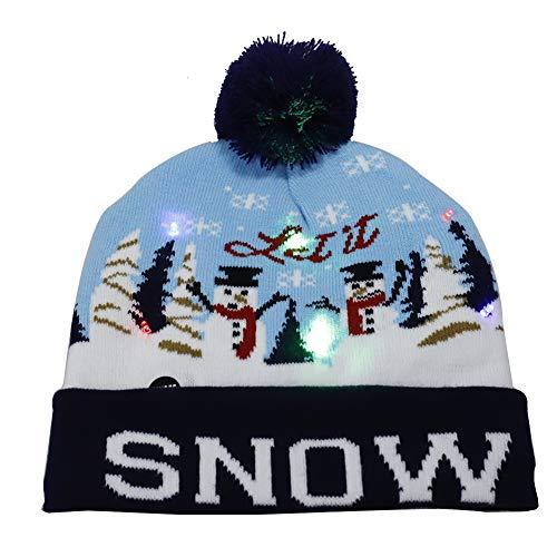 LIDEBLUE LED Leuchtend Hut Strickmütze Weihnachten Beanie Mütze mit LED Licht Warme Kappe für Unisex Erwachsene Kinder Winter Xmas Urlaub Hut