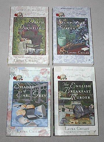 Laura Childs Box Set of 4: (#1) Death By Darjeeling; (#2) Gunpowder Green; (#3) Shades of Earl Grey; (#4) the English Breakfast Murder (A Tea Shop Mystery)