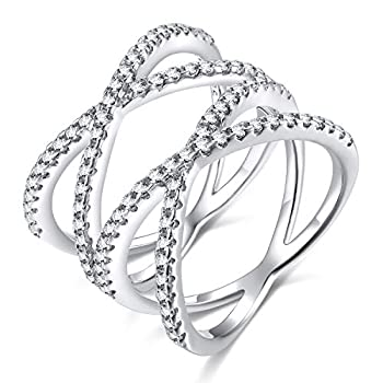 SOMEN TUNGSTEN Double X Criss Cross Ring 14K White Gold Plated Pave CZ Wedding Bands for Women Size 8