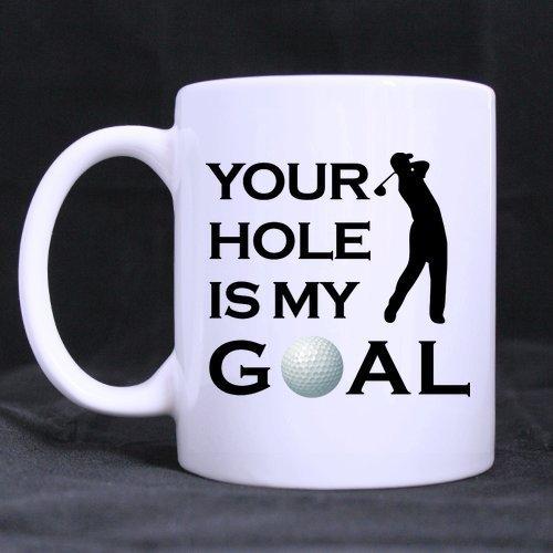 Eastlif Taza de Golf Divertida - El Mejor Humor Fresco Sexo Grosero Tu Agujero es mi Objetivo Tazas Personalizadas con Fotos