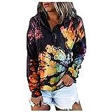 Boshivw Sudadera para mujer de gran tamaño, vintage, cuello alto, monocolor, camiseta larga, cálida para otoño, con cordón, Negro , XXL