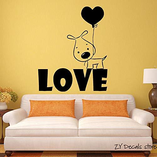 shiyueNB Puppy hond muurstickers ballon romantische gift vinyl muur S verwijderbare kunst muurschildering huisdier hond behang zwart 42x50cm