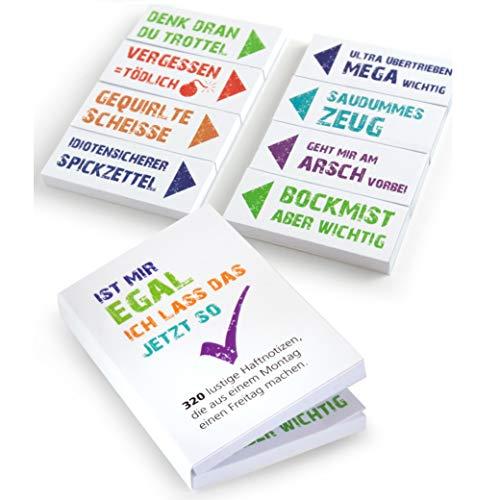 OfficeTree Haftnotizen lustig für Studenten - Klebezettel mit frechen Sprüche im coolen Design als Büro Gadgets - Funny Sticky Notes für die Linke sowie Rechte Buchseite - 320 Blatt 20x50mm