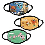 3 Pack The Amazing World of Gumball Kids Balaclava Bandanas Dust Face Masks Reusable Mouth Cover for Boys and Girls