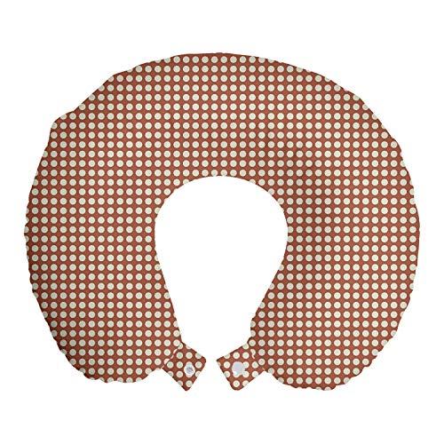 ABAKUHAUS Astratto Cuscino da Viaggio, Motivi rotonda grafica, Accessorio in Schiuma di Memoria per Viaggio, 30 cm x 30 cm, Pallido cioccolato guscio d'uovo