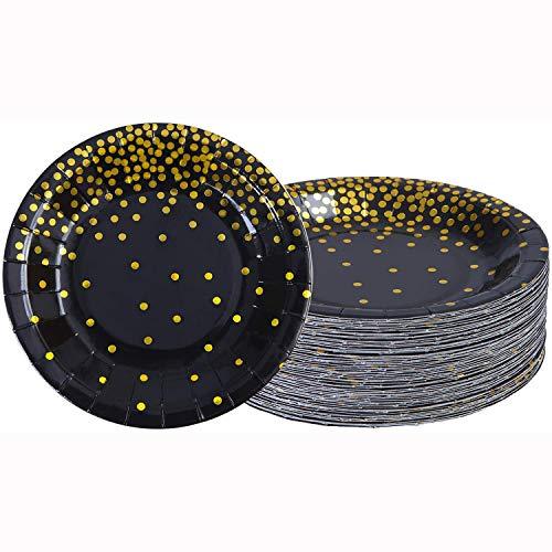 60 platos de papel desechables de color negro, de 7 pulgadas, color negro, con papel de lunares de hoja dorada, platos de vajilla para fiestas, bodas, aniversarios, cumpleaños