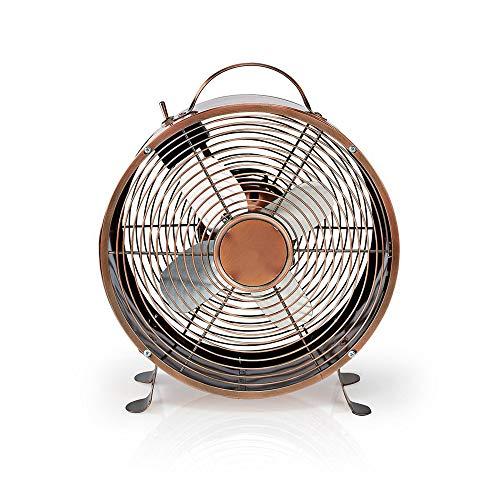 hibuy Retro Look Tischventilator - Kupfer Design, Vollmetall - Ø 25 cm - 2 Geschwindigkeiten