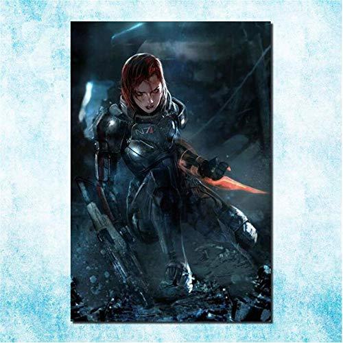 ZKPWLHS Prints op Doek 1 Stuk Massive Effect 2 3 4 Hot Shot Action Game Zijde Kunst Doek Poster Foto's Voor Woonkamer Decoratie Frameloos