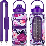 Half Gallon Water Bottle with Sleeve Large 64 OZ Water Bottle with Straw & Time Marker to Drink Leakproof Motivational BPA Free Big Water Jug with Insulated Neoprene Holder Women Men Workout Gym Sport