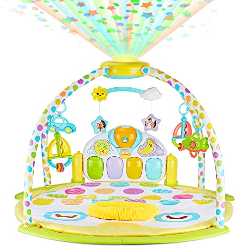 BABYSEATER Baby Gym and Playmats - Kick and Play Piano Baby Play Mat for Infants and Newborn - Baby Activity Gym Playmat with Rotating Star Mobile & Star Projector - Machine Washable