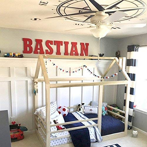 House Bed Frame Twin Size + Railings PREMIUM WOOD