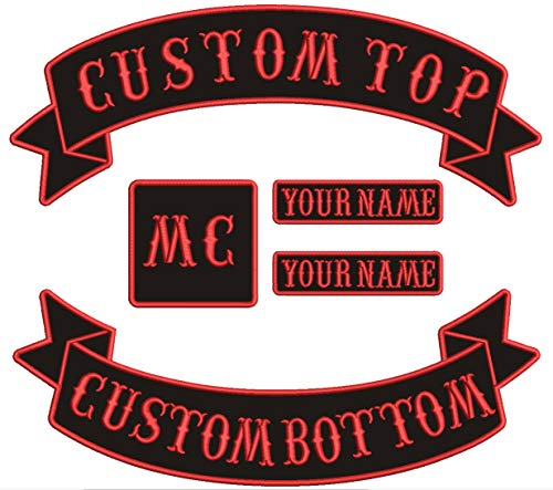5 Packs Custom Patch Embroidered Motorcycle Biker Patches, Personalized Embroidery Rocker Rider MC Back Vest Patch Appliqued Iron-on/Sew on Clothes Jacket (Black)