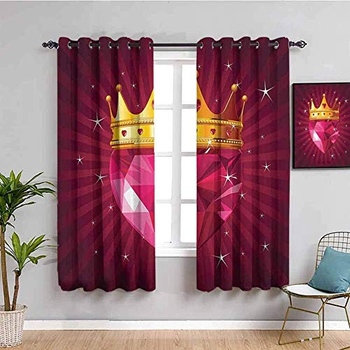 ZLYYH long curtains Red diamonds crown stars W66'xL90'(33'x90'x2 panels) Blackout Curtain Christmas Soft Thermal Decorative Darkening Curtain with Grommets for Living Room Bedroom Nursery Room