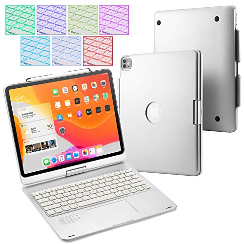 UIQELYS 2018/2020 iPad Pro 12.9 inch Touchpad Keyboard Case with 7 Color Backlit, Wireless Bluetooth 5.0 Portable Tablet Keyboard 360° Rotatable with Built in Rechargeable Battery (Silver)