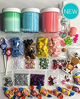 Christmas SLIME GIFT SET Strawberry Butter Slime + Blueberry + Cloud Slime + Java Chips Sprinkles Charms Foam Beads Jewels Glitter + Spray Activator + More! HANDMADE by Savv.Slimes