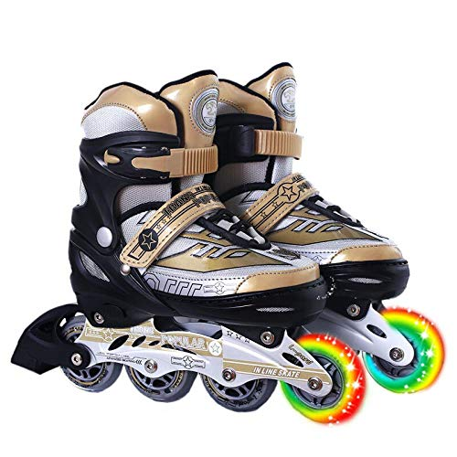 Great Deal! SSLLPPAA Skates for Children Roller Skates in-line Wheels Golden Suit Roller Skates, S