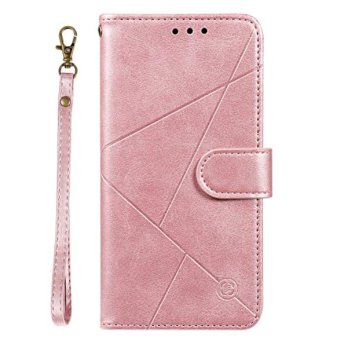 Tosim Moto G7/G7 Plus Hülle Klappbar Leder, Brieftasche Handyhülle Klapphülle mit Kartenhalter Stossfest Lederhülle für Motorola Moto G7/G7Plus - TOHHA150363 Rosa Gold