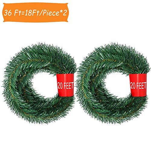 YQing 5.5 M Decoraciones de Navidad Guirnalda, 2 Piezas Navidad Pino Abeto Guirnalda Artificial Guirnalda Larga Verde Guirnalda Llana Festiva para chimeneas, Escalera, decoración de árbol de Navidad