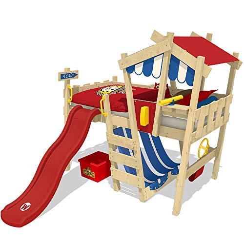 WICKEY Kinderbett Hochbett Crazy Hutty mit roter Rutsche Hausbett 90 x 200 cm, Etagenbett