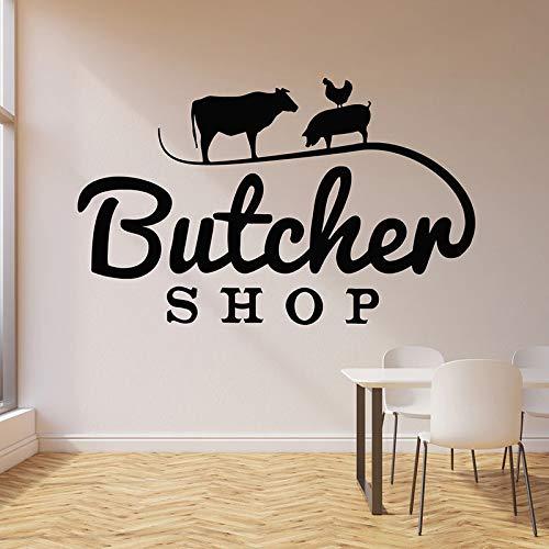 sanzangtang Logo Wandtattoo Kuh Schwein Huhn Tier Rindfleisch Tür Fenster Vinyl Aufkleber Metzgerei Innendekoration Papier Kunst,